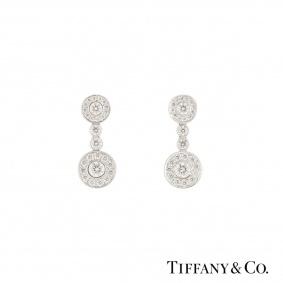 Tiffany & Co. Platinum Diamond Circlet Earrings 1.18ct G+/VS+